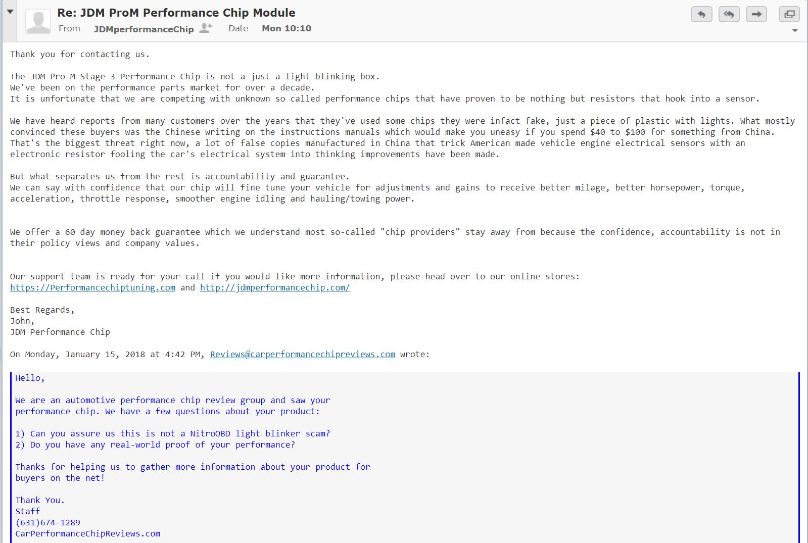 JDM ProM email response